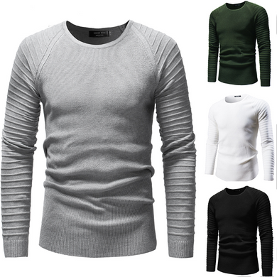 Solid Color Personalized Pleated Raglan Sleeve Sweater