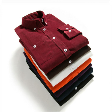 Men's Solid Color Corduroy Long Sleeve Shirt