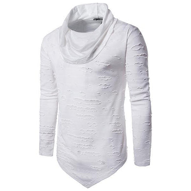 Men's Fashion Ripped High Collar Long Sleeve T-Shirt