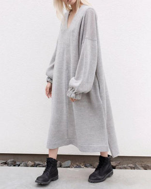 Fashion Casual Loose V-Neck Long Puff Sleeves Maxi Dress