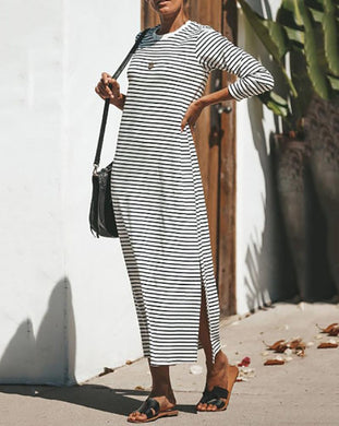 Commuting Round Neck Stripe Maxi Dresses