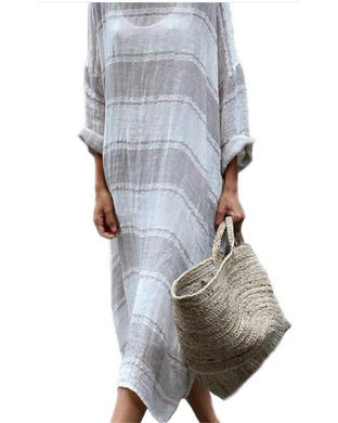 Casual Loose Striped Print Maxi Dress
