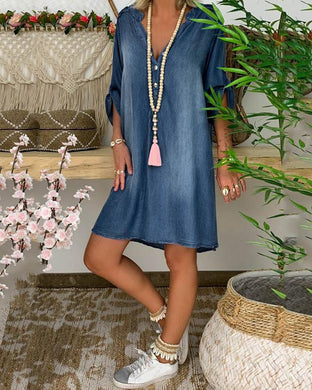 V-Neck Pullover Short-Sleeved Denim Dress