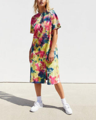Fashion Round Neck Tie Dyed Printed Split Dress