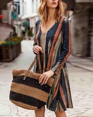 Fashion Casual Striped V-Neck Dress