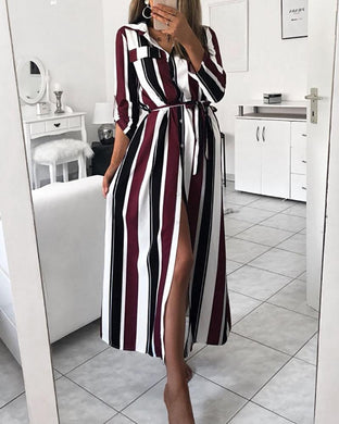 Fashion Colour Stripe Belted Shirt Maxi Dress