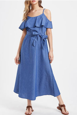 2018 Fashion Ruffle Straps Denim Vacation Dress