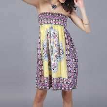 Load image into Gallery viewer, Smocked Bodice Strapless Shift Dress In Tribal Printed