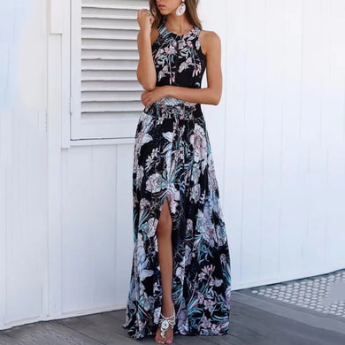 Halter  Backless Bowknot  Floral Printed  Sleeveless Maxi Dresses