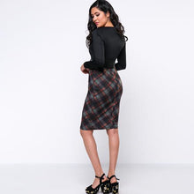 Load image into Gallery viewer, V-Neck  Belt  Plaid Printed Bodycon Dress