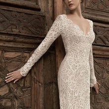 Load image into Gallery viewer, High-End Lace V-Neck Bride Wedding Evening Long Dress
