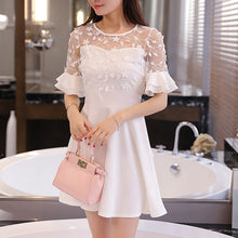 Load image into Gallery viewer, Round Neck  Decorative Lace Flounce  Tiered  Plain Skater Dress