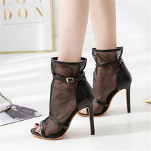 Load image into Gallery viewer, Fish Mouth Mesh Openwork High Heel Sandals