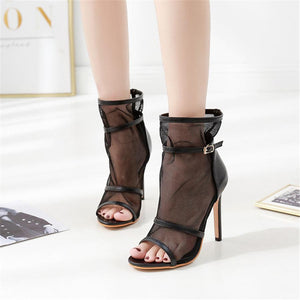 Fish Mouth Mesh Openwork High Heel Sandals