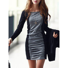 Load image into Gallery viewer, Sexy Color Block Ruched Mini Bodycon Dress