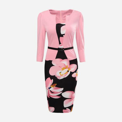 Floral  Fake Two-Piece  Dress
