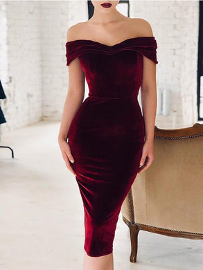 Off Shoulder  Backless Inverted Pleat  Plain Bodycon Dresses