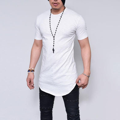 New Men's Bamboo Short-Sleeved T-Shirt Solid Color Round Neck Top
