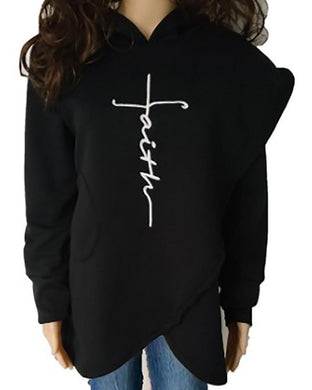 Long Sleeve Fleece Embroidery Irregular Hooded Sweater