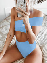 Load image into Gallery viewer, One Shoulder  Cutout Patchwork  Plain Bikini