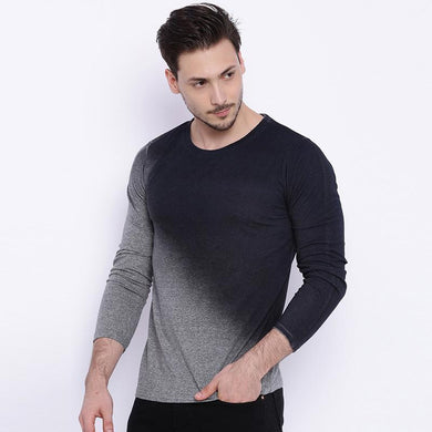 Gradient Solid Color Slim Round Collar T-Shirt