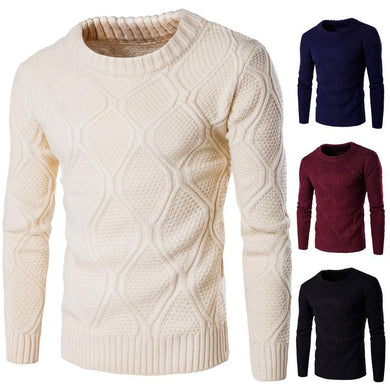 Spring And Autumn Men's Solid Color Thicken Warm Sweater