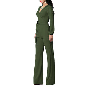 Long-Sleeved Sexy V Collar Solid Color Slim Jumpsuit With Belt