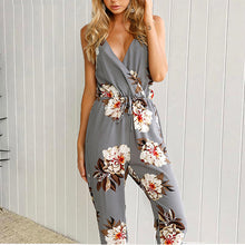 Load image into Gallery viewer, Flower Printed Sexy V Collar Strap Sleeveless Halter Slim Jumpsuit