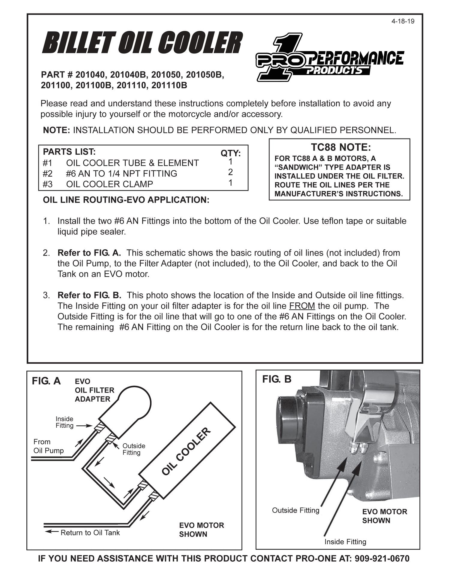Pro-One Performance Products, Inc. Billet Oil Cooler Instruction Sheet