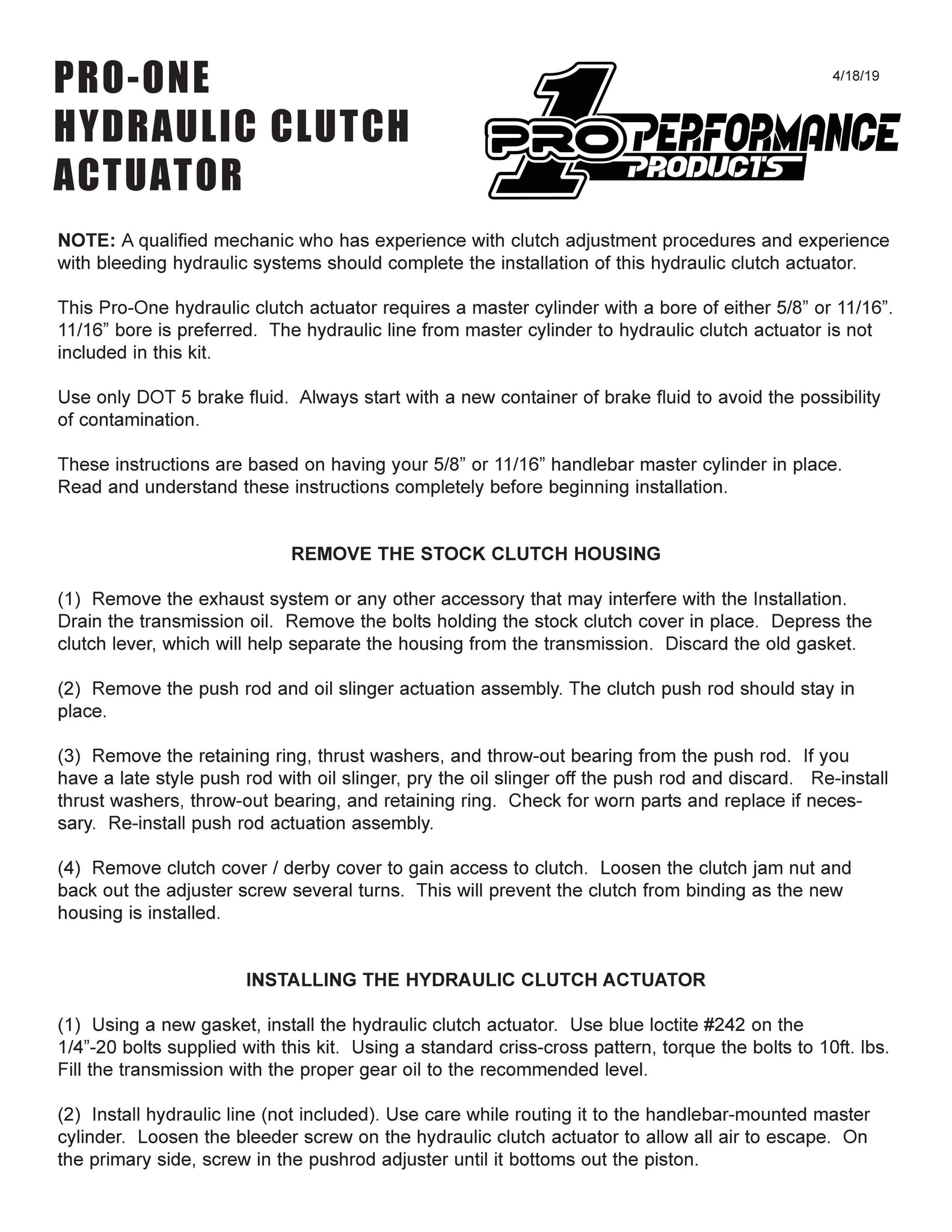 Pro-One Performance Hydraulic Clutch Actuator Instructions , 202240, 202240B 202250