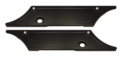 #104710B Saddle Bag Latch Covers, Smooth, Black Anodized, 1993-13 Touring