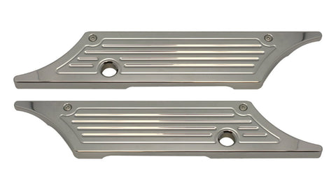 #104720 Saddle Bag Latch Covers, Ball Milled, Chrome, 1993-13 Touring