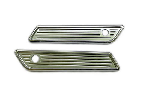 #104722 Slim Line Saddle Bag Latch Covers, Ball Milled, Chrome