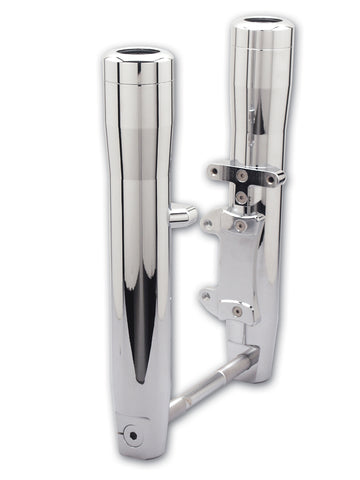 #114019 41mm Wide Glide Lower Leg Set, Smooth Round, Chrome Billet, Single Disc 00-07