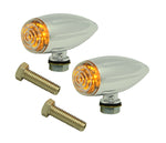 #400380 LED Turn Signal, Chrome Bullet, Ball Milled, Pair