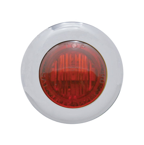 "#402230  3 Red LED, Dual Funct, 1-1/8""  Mini Marker Light w/Clear Lens, S/S"