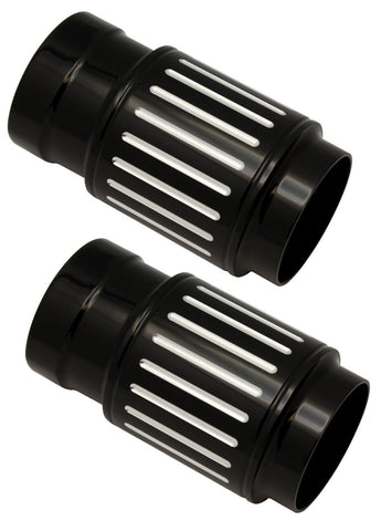 #908385B Ball Milled Black Billet Fork Slider Covers