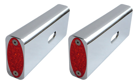 #909105R Billet Fender Strut Marker Light, RED LED, Chrome, 06-16 Dyna, Except FXDF, FXDWG, FXDB, FLD, Pair