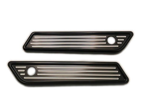 #104722B Slim Line Saddle Bag Latch Covers, Ball Milled, Black