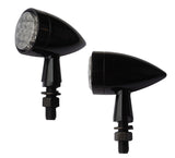 "#AC-1031B LED Turn Signal, Black ""Super"" Bullet, Smooth, Pair"