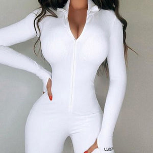 Womens Lucky Label Jumpsuit Solid Long Sleeve Set Fitness Playsuit Sportswear Zipper Body Embroidery Lucky Label Rompers 2020