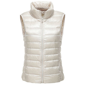 90% white duck down coat women vests winter Ultra Light Duck Down Vest sleeveless Jacket Ladies waistcoat autumn red black vest