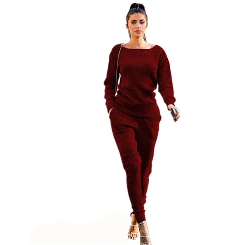 Lossky New Autumn And Winter Women's Sets 2018 Casual Track Suits O-Neck Long Sleeve Pit Knitting Sports Bodycon Women Sets