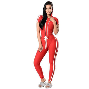 1Pcs Sexy Midriff baring Women Chic Side White Stripes Track Suits Female Slim Fit Casual Sports Wear