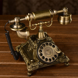 Antique Rotary Dial Telephone - European Style Old Fashion Landline Phone