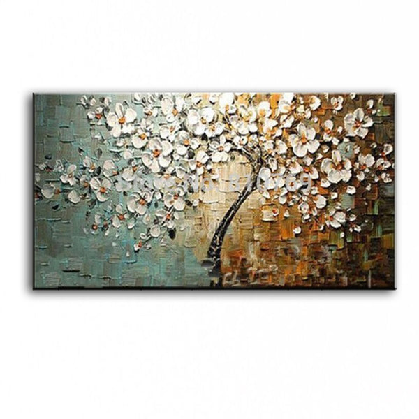 New handmade Modern Canvas on Oil Painting Palette knife Tree 3D Flowers Paintings Home living room Decor Wall Art