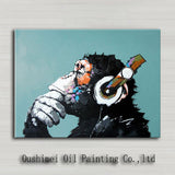 Decorative Art Handmade Monkey Oil Painting On Canvas Living Room Home Decor Wall Paintings Thinking Orangutan Animal Pictures