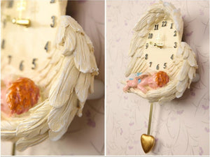 Wall clock Angel love mute resin handmade crafts gifts home decor vintage