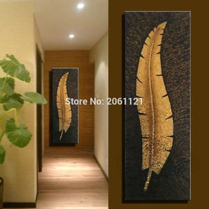 Handmade Vertical Wall Canvas Art Large Modern Living Room Aisle Corridor Decoration Oil Painting Gold Leaf Picture Home Decor