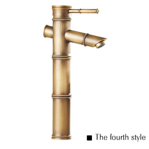 Antique Brass Waterfall Bathroom Sink Faucet Vessel Tall Bamboo Water Tap Mixer